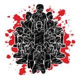 Groeps mensen gebed, Lof aan de Lord grafische vector vector illustratie