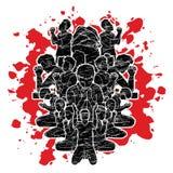 Groeps mensen gebed, Lof aan Lord royalty-vrije illustratie
