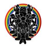 Groeps mensen gebed, Lof aan Lord stock illustratie