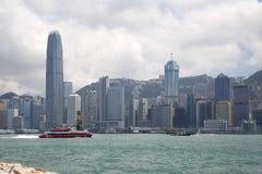 Groeps moderne wolkenkrabbers in stad Hongkong China Royalty-vrije Stock Afbeeldingen