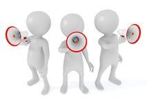 Groepsmensen die megafoons met behulp van vector illustratie