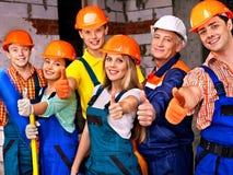 Groepsmensen in eenvormige bouwer. Royalty-vrije Stock Fotografie
