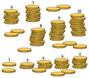 Groepsstapels muntstukken van 1 tot 10 Royalty-vrije Stock Foto