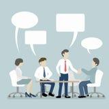 Groepsvergadering van Bedrijfsmensen met Toespraakbel Royalty-vrije Stock Foto's