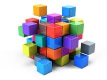 Groepswerk bedrijfsconcept - kubus die van blokken assembleren Stock Foto