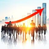 Groepswerk, de groei en werkgelegenheidsconcept vector illustratie