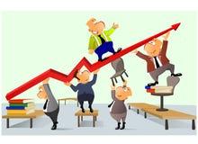 Groepswerk en de groei Stock Foto