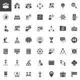 Groepswerk en vennootschap vector geplaatste pictogrammen royalty-vrije illustratie