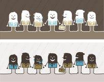 Groepswerk gekleurd beeldverhaal Royalty-vrije Stock Afbeeldingen