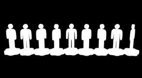 groepswerk Groep gestileerde mensentribune op toestellen stock illustratie