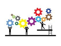 Groepswerk, mensen die aan lopende band samenwerken stock illustratie