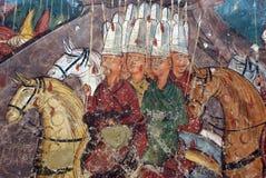 Groepswerk op een grotschildering Royalty-vrije Stock Foto