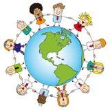 Groepswerk rond de wereld stock illustratie