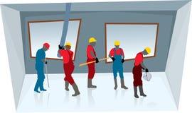 Groepswerk van bouwvakkers (vector) royalty-vrije illustratie