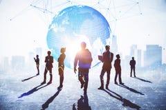 Groepswerk, verbinding en globaal bedrijfsconcept stock foto's
