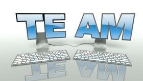 Groepswerkconcept, genetwerkte computers online stock illustratie