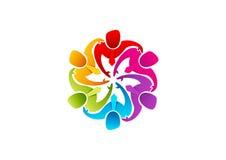 Groepswerkembleem, zakenmanpictogram, leadearshipsymbool, groepsdiversiteit en arbeidersconceptontwerp Stock Afbeeldingen