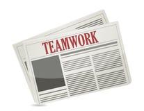 Groepswerkkrantekop op een krant. Stock Afbeelding
