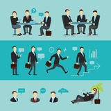 Groepswerkreeks, gesprek Vlakke vector Stock Foto