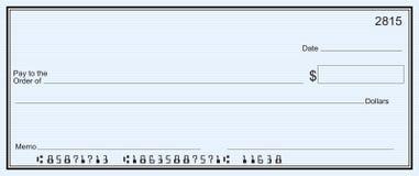 Großer Blankoscheck - Hintergrund des blauen Streifens Lizenzfreie Stockfotografie