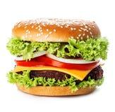 Großer königlicher appetitanregender Burger, Hamburger, Cheeseburgernahaufnahme auf einem weißen Hintergrund Lizenzfreies Stockfoto
