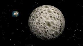 Großer Mond mit kleiner Erde nach Stockbild