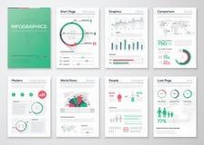 Großer Satz infographic Vektorelemente in der flachen Geschäftsart Stockbilder