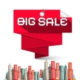 Großer Verkaufs-roter Aufkleber und Wolkenkratzer-Vektor Lizenzfreie Stockbilder