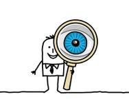 Großes Auge und Vergrößerungsglas Lizenzfreie Stockbilder