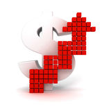Großes Dollarzeichen mit dem Heranwachsen des roten Pfeiles Stockfoto