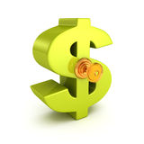 Großes grünes Dollarsymbol mit Schlüssel Geschäftskonzept getrennt auf Weiß Lizenzfreie Stockfotos