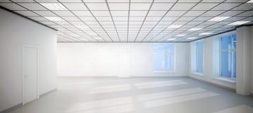 Großes leeres Büro des weißen Raumes mit drei Fenstern Lizenzfreies Stockbild