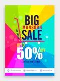 Großes Monsun-Verkaufs-Plakat, Fahne oder Flieger Stockfotos