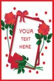 Groet-kaart-met-helder-rood-rozen vector illustratie