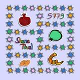 Groet op Rosh Hashanah in document stijl sticker 5779 Shofar, granaatappel, appel, rol, ster doodle De hand trekt Vector Royalty-vrije Stock Afbeeldingen