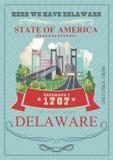 Groet van de vectorillustratie van Delaware met kleurrijke gedetailleerde landschappen De eerste staat vector illustratie