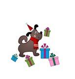 Groet van Kerstmanpuppy Stock Afbeeldingen