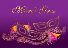 Groetaffiche met twee gestippeld Carnaval-masker en overzichts decoratief kant in goud op de violette achtergrond Vieringsontwerp stock illustratie