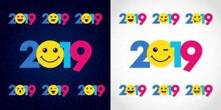 2019 groeten van de Gelukkige Nieuwjaarkerstmis Royalty-vrije Stock Afbeeldingen