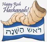Groeten voor Joods Nieuwjaar met Shofar-Hoorn en Lint, Vectorillustratie stock illustratie