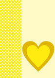 Groetkaart één geel hart en vele kleine witte degenen Stock Fotografie