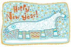 Groetkaart, decoratieve geit, Gelukkig Nieuwjaar! Royalty-vrije Stock Fotografie