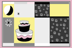 Groetkaart en cake Royalty-vrije Stock Foto's
