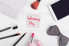 Groetkaart en vrouwelijke samenstelling Stock Afbeelding