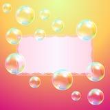 Groetkaart en zeepbels royalty-vrije illustratie