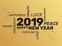 2019 Groetkaart - Gelukkig Nieuwjaar vector illustratie
