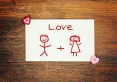 Groetkaart - matchstick mens - liefde Stock Afbeeldingen
