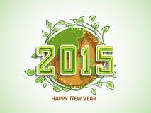 Groetkaart met aardconcept voor Nieuwjaar 2015 viering Stock Foto
