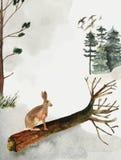 Groetkaart met achtergrond van bos en bergen Kinderen` s Thema Prentbriefkaar met een haas wildlife stock illustratie