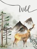 Groetkaart met achtergrond van bos en bergen Kinderen` s Thema prentbriefkaar met herten wildlife vector illustratie